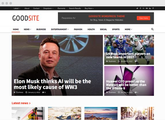 GoodSite WordPress Magazine Theme - Happy Themes