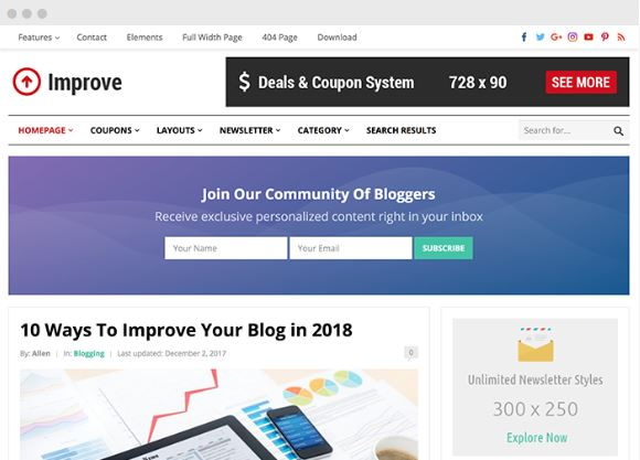 improve WordPress Blog & Coupon Theme happy themes