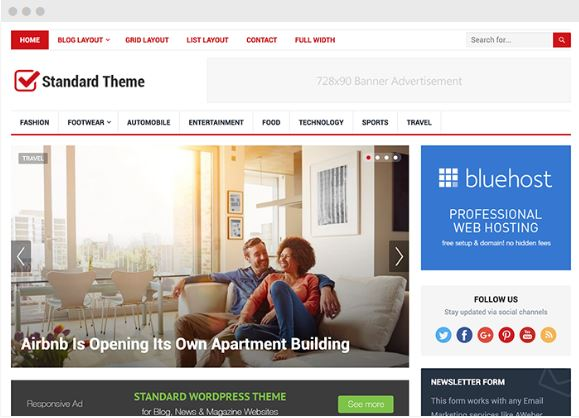 standard wordpress blog magazine theme happy themes